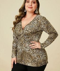 YOINS Plus Size Twist Leopard Long Sleeves new!